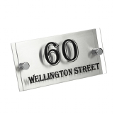 silver back perspex house sign