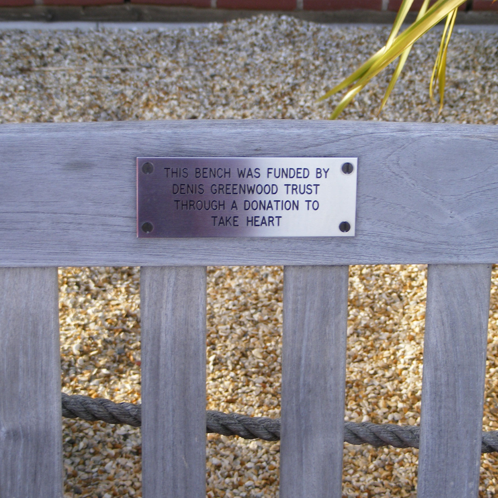 Stainless Steel Laser Engraved Bench Plaque