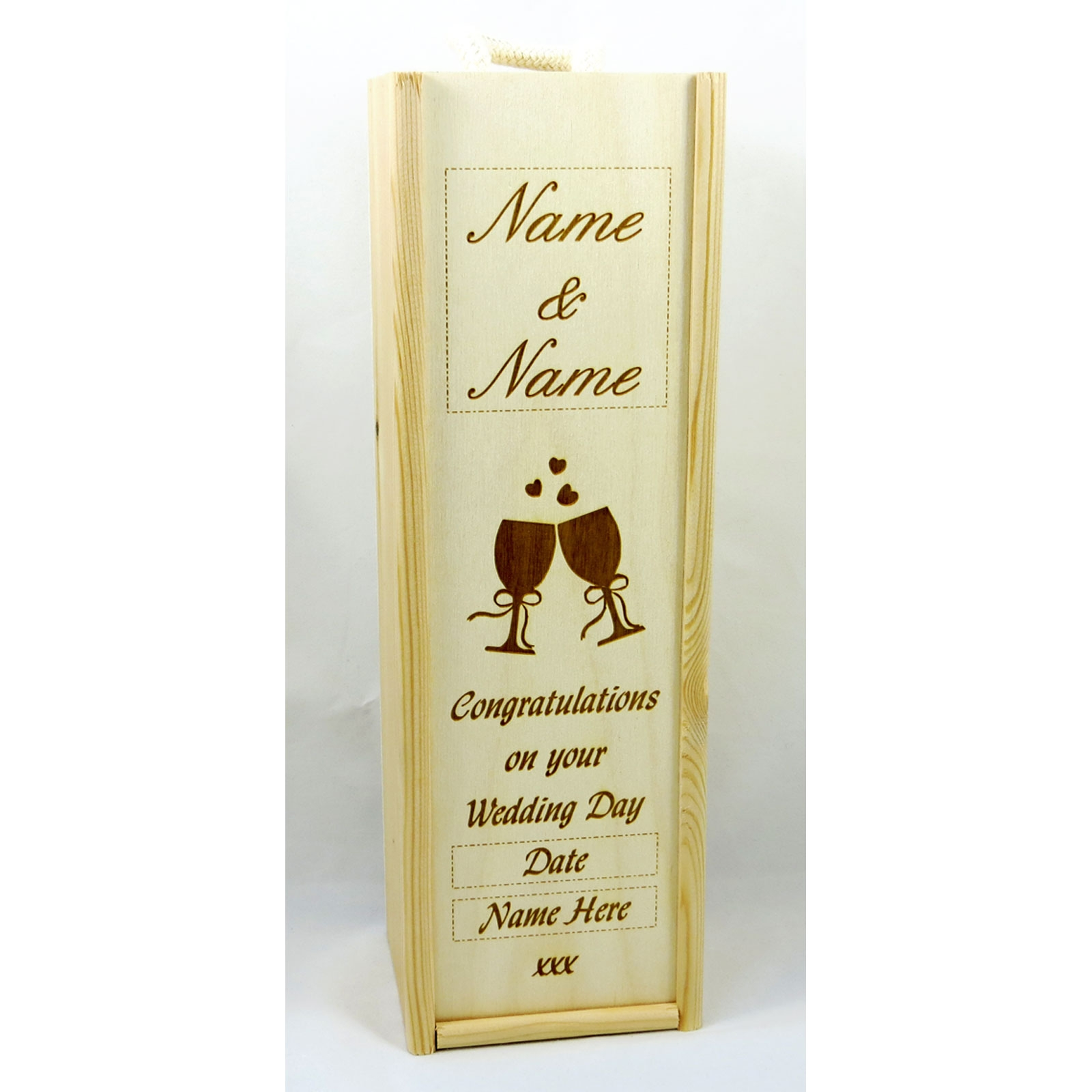 Wooden Wine And Champagne Boxes Laser Engraved